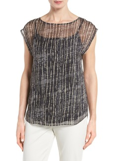 Eileen Fisher Streaky Plaid Crinkled Silk Top