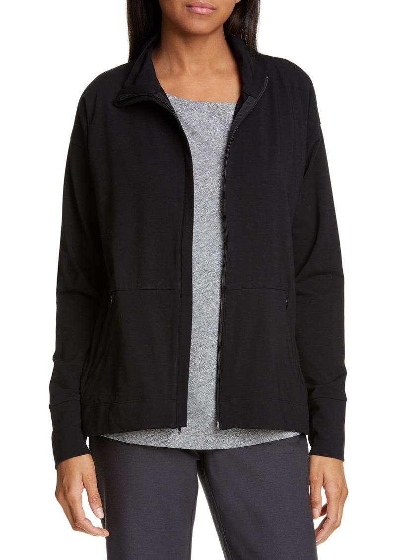 Eileen Fisher Stretch Cotton Funnel Neck Jacket