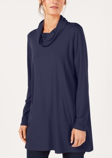 Eileen Fisher Stretch Jersey Draped Funnel-Neck Tunic, Created for Macy's