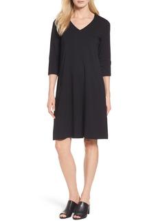 Eileen Fisher Stretch Organic Cotton Jersey Shift Dress (Regular & Petite)