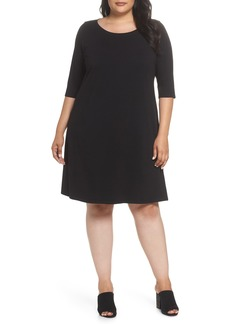 Eileen Fisher Stretch Organic Cotton Shift Dress (Plus Size)