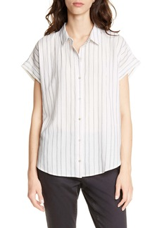 Eileen Fisher Stripe Boxy Organic Cotton Blend Shirt (Regular & Petite)