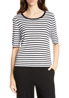 Eileen Fisher Stripe Elbow Sleeve Sweater