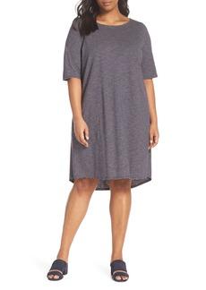 Eileen Fisher Stripe Hem & Cotton T-Shirt Dress (Plus Size)