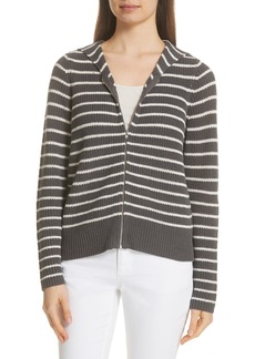 Eileen Fisher Stripe Hemp & Cotton Blend Hooded Cardigan