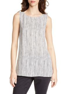 Eileen Fisher Stripe High/Low Silk Shell (Regular & Petite)