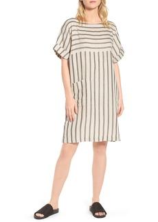 Eileen Fisher Stripe Linen & Cotton Shift Dress (Regular & Petite)