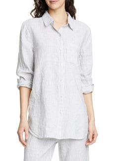 Eileen Fisher Stripe Linen Blend Shirt (Regular & Petite)