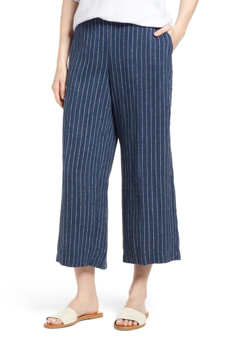Eileen Fisher Stripe Linen Crop Pants (Regular & Petite)