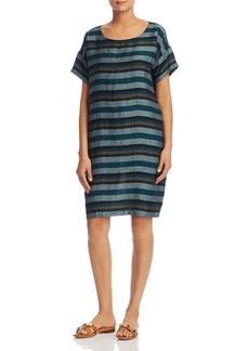 Eileen Fisher Petites Striped Organic Linen Shift Dress