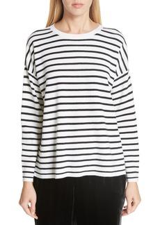 Eileen Fisher Stripe Merino Wool Sweater (Regular & Petite)