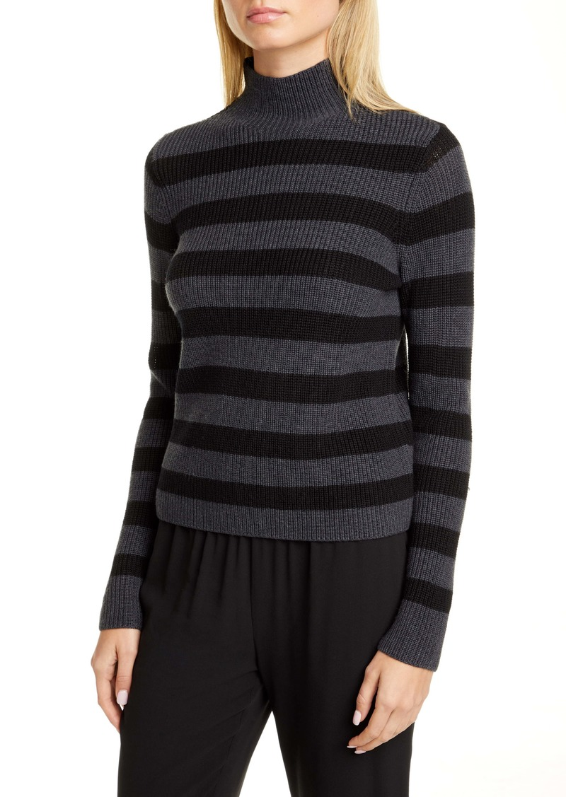 Eileen Fisher Stripe Merino Wool Turtleneck Sweater