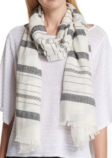 Eileen Fisher Stripe Organic Cotton & Linen Scarf
