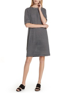 Eileen Fisher Stripe Organic Linen Knit Shift Dress (Regular & Petite)