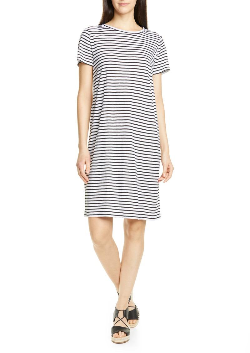 Eileen Fisher Stripe Organic Linen Shift Dress (Regular & Petite)