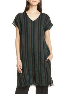 Eileen Fisher Stripe Raw Hem Organic Cotton Tunic (Regular & Petite)