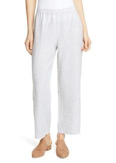 Eileen Fisher Stripe Straight Leg Crop Linen Pants (Regular & Petite)