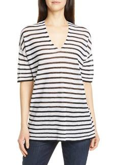 Eileen Fisher Stripe V-Neck Linen Blend Top