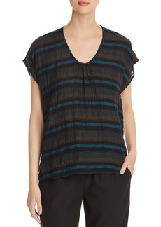 Eileen Fisher Striped Cap-Sleeve Tee