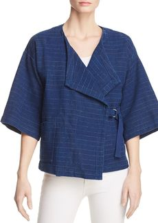 Eileen Fisher Striped Cotton & Linen Kimono Jacket