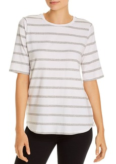 Eileen Fisher Striped Elbow-Sleeve Tee