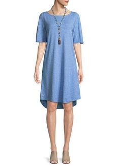 Eileen Fisher Striped Half-Sleeve Hemp-Blend Shift Dress