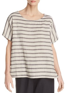 Eileen Fisher Striped Linen & Organic Cotton Top