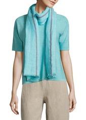 Eileen Fisher Striped Linen-Blend Scarf