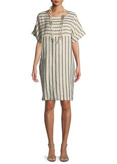 Eileen Fisher Striped Linen-Blend Shift Dress