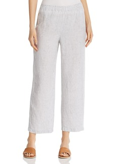 Eileen Fisher Striped Organic Linen Ankle Pants