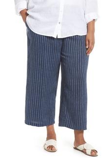 Eileen Fisher Striped Wide Leg Crop Linen Pants (Plus Size)