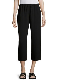 Eileen Fisher System Cropped Silk Straight-Leg Pants