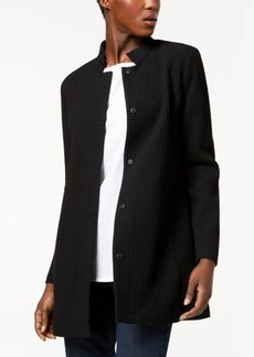 Eileen Fisher Tencel Blend Textured Stand-Collar Jacket