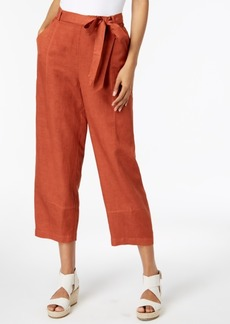 Eileen Fisher Tencel Linen Tie-Waist Ankle Pants