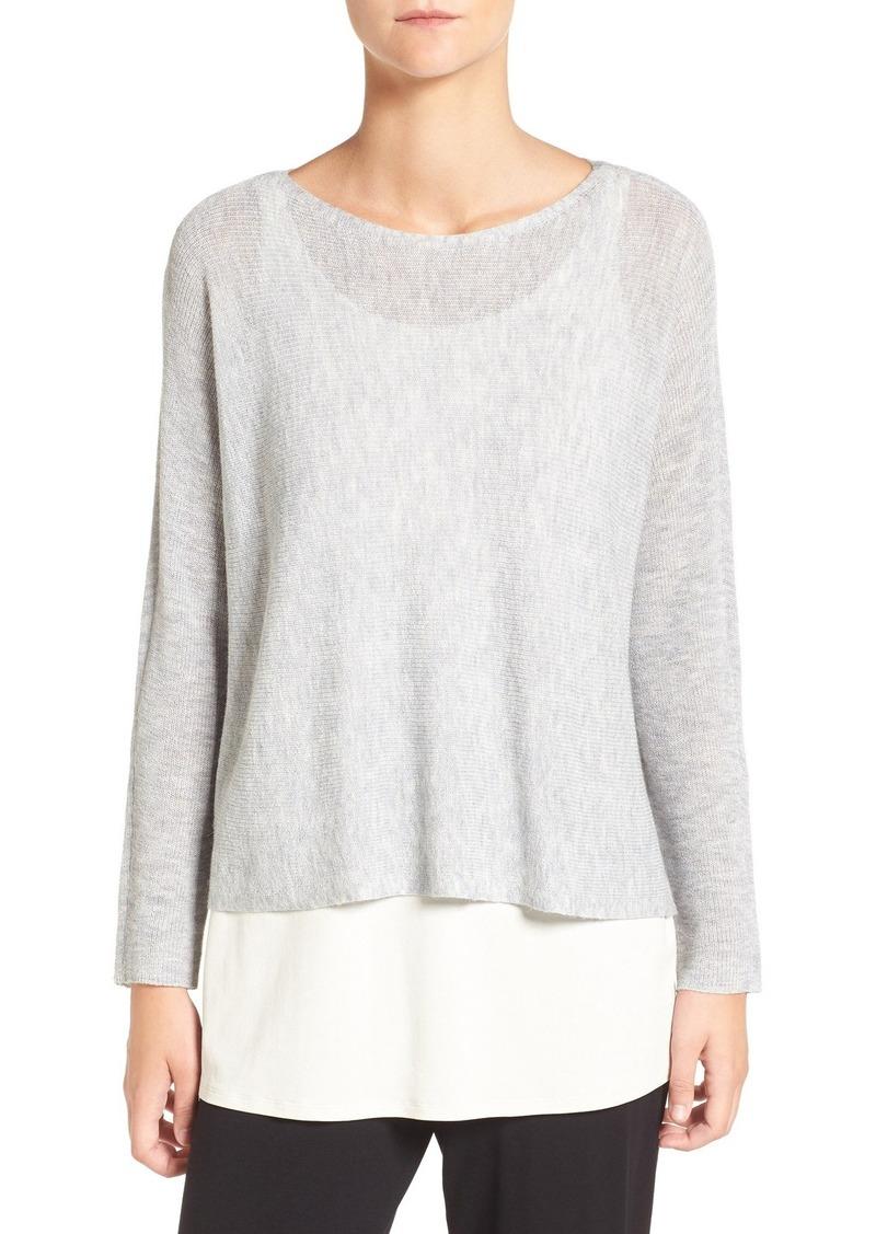 Eileen Fisher Tencel® Lyocell & Wool Blend Bateau Neck Sweater