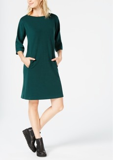 Eileen Fisher Tencel Ponte 3/4-Sleeve Boat-Neck Dress, Created for Macy's