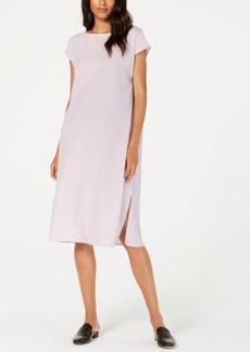 Eileen Fisher Tencel Side-Slit Cap-Sleeve Dress