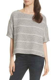 Eileen Fisher Textured Stripe Boxy Cotton Top