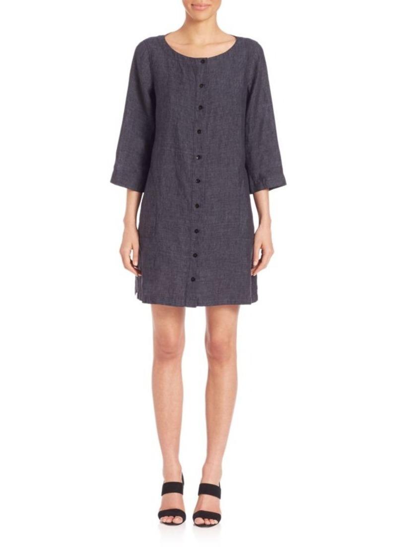 Eileen Fisher Three-Quarter Sleeve Button-Front Linen Dress