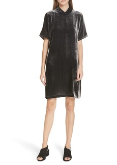 Eileen Fisher Tie Back Velvet Shift Dress (Regular & Petite)