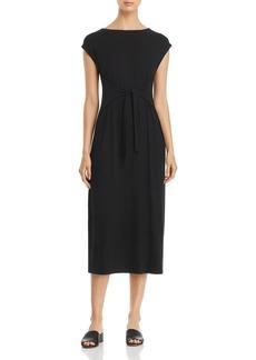 Eileen Fisher Tie-Waist Midi Dress