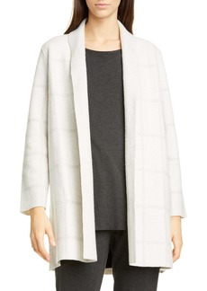 Eileen Fisher Tonal Check Wool Cardigan
