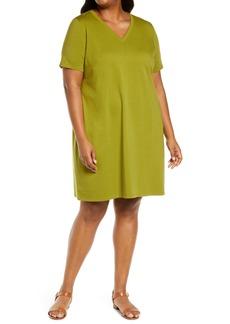 Eileen Fisher Traceable Stretch Organic Cotton T-Shirt Dress (Plus Size)