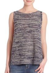 Eileen Fisher Twisted Blurred Sleeveless Organic Linen Top