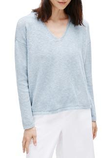 Eileen Fisher V-Neck Boxy Organic Cotton & Linen Sweater