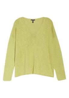 Eileen Fisher V-Neck Boxy Organic Cotton & Linen Sweater (Plus Size)