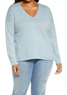 Eileen Fisher V-Neck Boxy Organic Cotton & Linen Sweater (Plus Size)