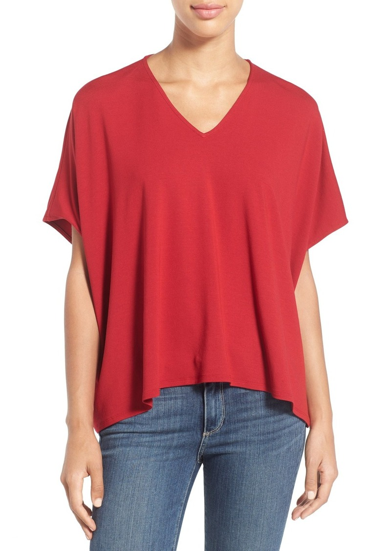 Eileen Fisher V-Neck Jersey Asymmetrical Hem Top