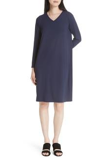 Eileen Fisher V-Neck Knee Length Shift Dress (Regular & Petite)