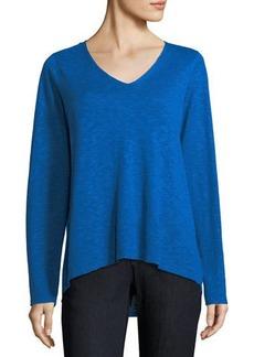 Eileen Fisher V-Neck Linen-Cotton Slub Top